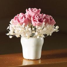 rosa Rosen in weißer Vase Pink Rose Arrangement