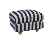 Fußteil blau-gestreift Modern Blue Stripe footstool