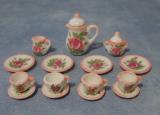 rosa Tee-Set Pink Rim Tea Set