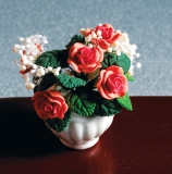 Pfirsich-Rosen in weißer Schale Peach Rose Arrangement