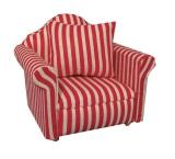 Sessel mit Kissen rot-gestreift Modern Red Stripe Armchair