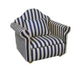 Sessel mit Kissen blau-gestreift Modern Blue Stripe Armchair